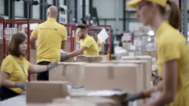 LD Employees in the warehouse scanning and sorting packages from the conveyor belt