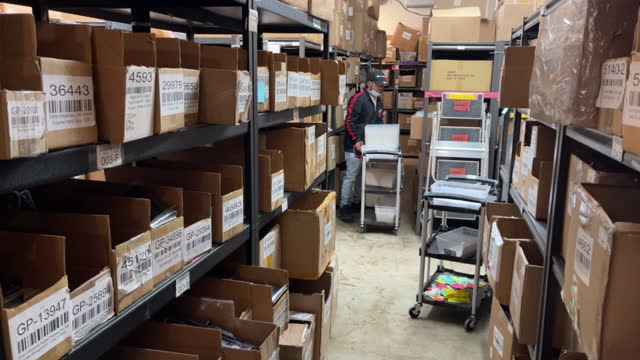 employees in warehouse of davidson defense gun shop in orem, ut, u.s. on wednesday, march 10, 2021. sales and orders of ar-15s have exploded the last... - orem stock videos & royalty-free footage