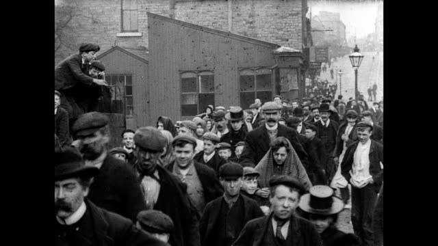 1900 - employees leave the messrs lumb and company factory - yorkshire england stock videos & royalty-free footage
