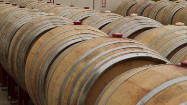 employees of the terry hoage vineyard in california take samples of wine from wine barrels for a tasting wide shot of a row of wine barrels shots of... - other stock videos and b-roll footage