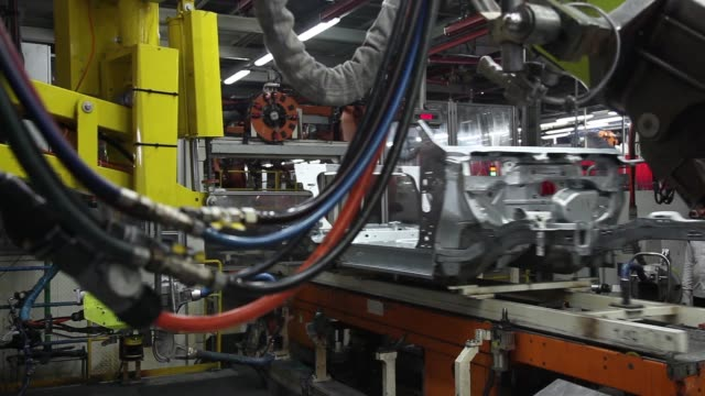 employees weld the frame and chassis of a volkswagen ag vento automobile on the production line at the volkswagen india pvt plant in chakan... - vento stock videos & royalty-free footage