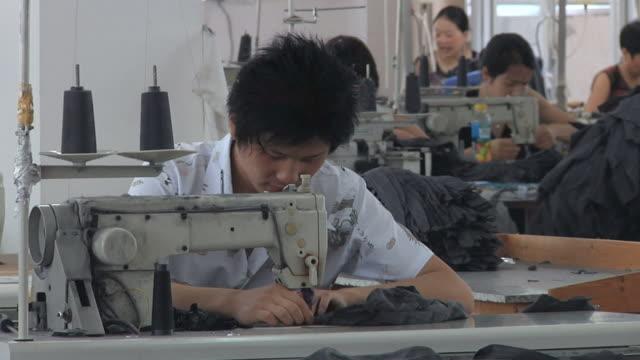 vidéos et rushes de ms employees working at sewing machines in factory / ningbo, zhejiang, china - clothing