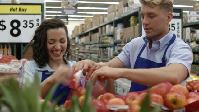employees working in a warehouse supermarket - coworker stock videos and b-roll footage