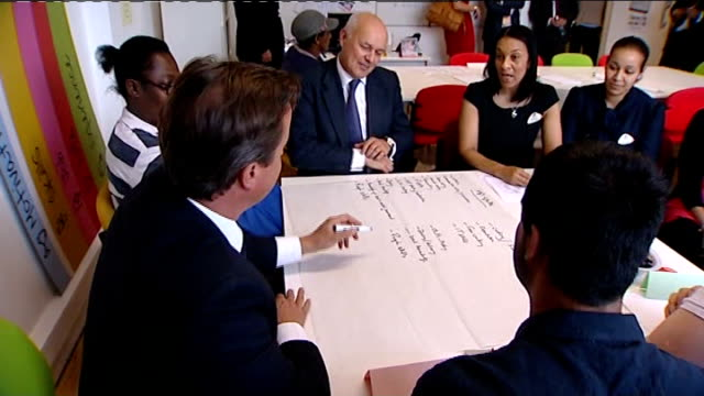 government welfare to work programme attacked by mps lib / london brixton david cameron mp and iain duncan smith mp speaking to staff and youths at... - politics and government stock videos & royalty-free footage