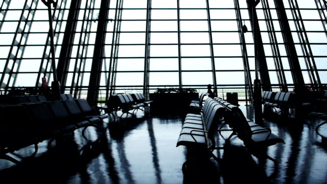 empty airport gate area slider motion - sparse stock videos and b-roll footage