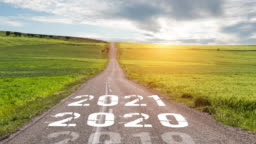 Empty asphalt road and New year 2020 concept