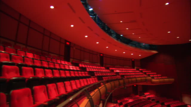 ms, pan, empty auditorium and stage, lac leamy, canada - theatre building stock videos & royalty-free footage