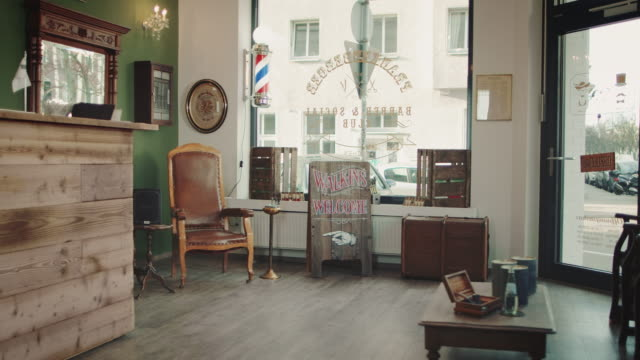 empty barbershop - barber shop stock videos & royalty-free footage