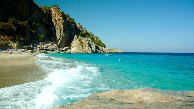 hd: empty beach kyra panagia, karpathos - parasol stock videos & royalty-free footage