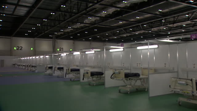 empty beds inside nhs nightingale at the excel centre a field hospital built to cope with demand from the coronavirus crisis - bed stock videos & royalty-free footage