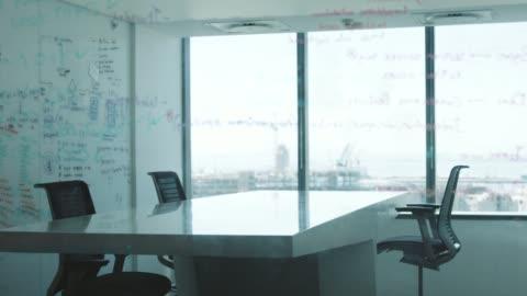 empty board room seen through glass wall - barren stock videos & royalty-free footage