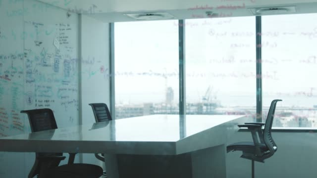 empty board room seen through glass wall - barren stock videos & royalty-free footage
