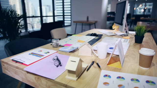 empty business office with work tools on the table - messy stock videos & royalty-free footage