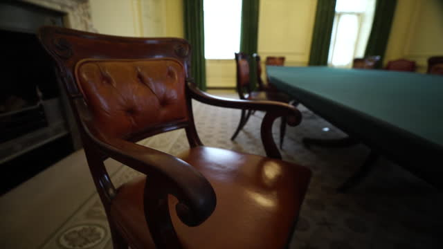 empty cabinet room in 10 downing street - chair stock videos & royalty-free footage