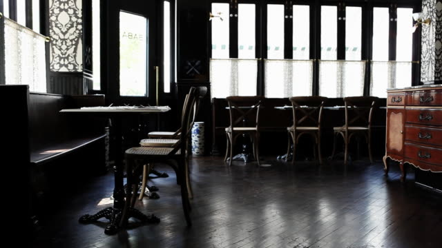 empty cafe, left to right pan - bar area stock videos & royalty-free footage