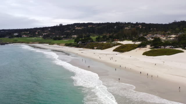 empty carmel beach during covid-19 pandemic - carmel california stock videos & royalty-free footage