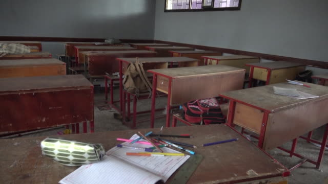 Empty classroom after deadly explosions next to public school in Sana's Yemen