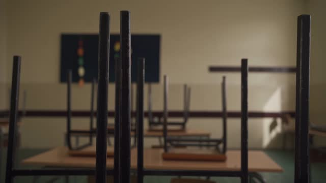empty classroom with chairs and desks - last day stock videos & royalty-free footage