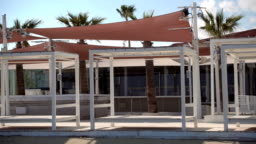 Empty closed for winter beach cafe during off-season on Cyprus. No people around
