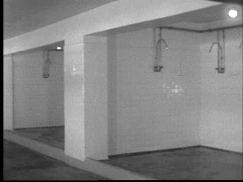 1956 WS PAN Empty communal shower facility at Kansas State Penitentiary/ Lansing, Kansas