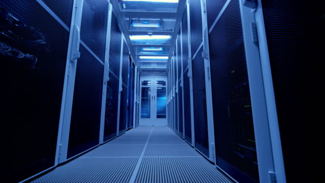 ds empty corridor in the server room - network server stock videos & royalty-free footage