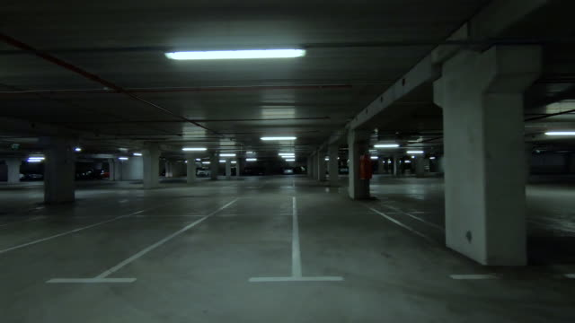 Empty dark underground parking