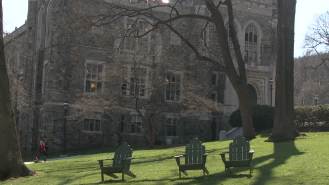ms empty deck chairs on lawn on university campus, bethlehem, pennsylvania, usa - see other clips from this shoot 1503 stock videos and b-roll footage