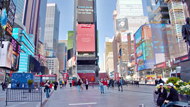 empty deserted times square in new york city during spring - times square manhattan stock videos & royalty-free footage