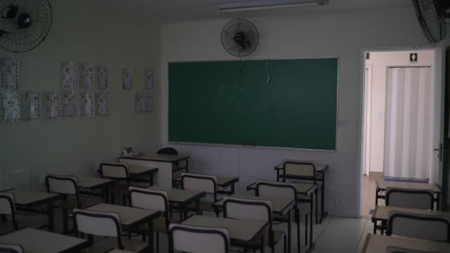 vídeos de stock, filmes e b-roll de mesas vazias sentam-se dentro de uma sala de aula vazia - tema da escola - dia