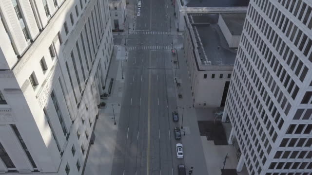 empty detroit street during the covid-19 pandemic - urban road stock videos & royalty-free footage