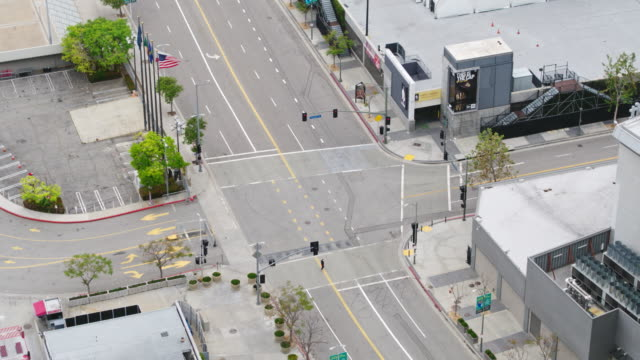 empty downtown los angeles street during the covid-19 pandemic - staples centre stock videos & royalty-free footage