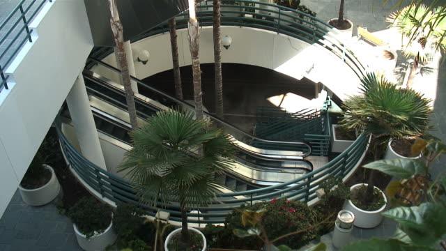 (HD1080i) Empty Escalator in Atrium from Above