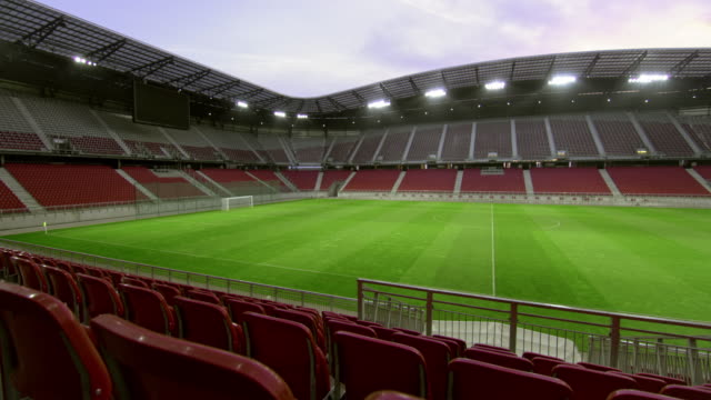 pan empty football stadium - football pitch stock videos & royalty-free footage