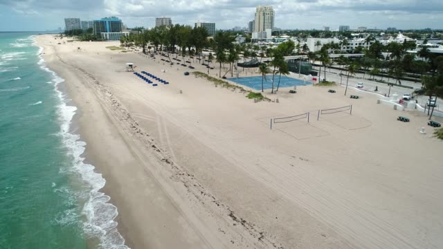 empty fort lauderdale beach during covid-19 pandemic - abandoned stock videos & royalty-free footage