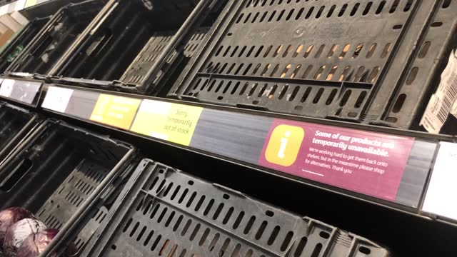 empty fresh fruit shelves at a marks & spencer's store on the lisburn road in belfast, with retailers 'experiencing some disruption after brexit' and... - belfast stock videos & royalty-free footage