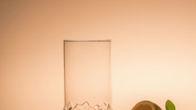 Empty glass with lemon and ice cubes