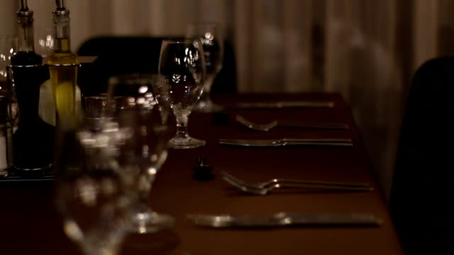 empty glasses in restaurant - calendar date stock videos & royalty-free footage
