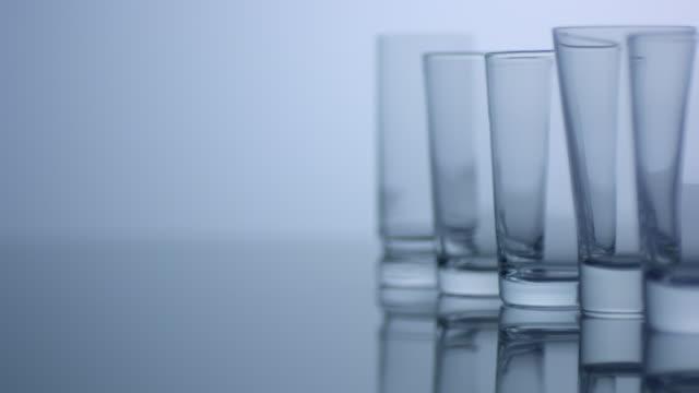 Empty glasses, slow motion
