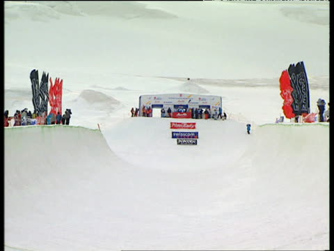 empty half pipe track 2004 freestyle fis world cup saasfee valais switzerland - half pipe stock videos & royalty-free footage