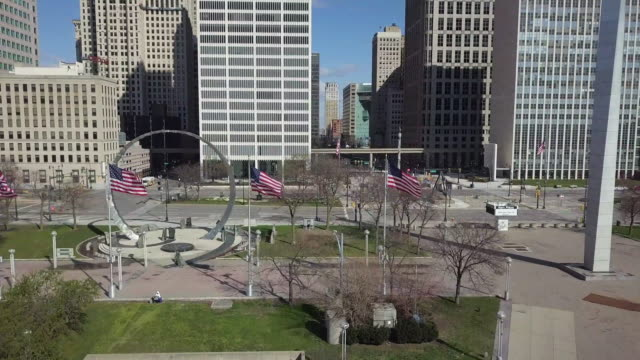 empty hart plaza detroit during the covid-19 pandemic - detroit michigan stock videos & royalty-free footage