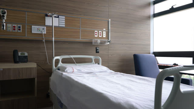 empty hospital room - healthcare concepts - bed furniture stock videos & royalty-free footage