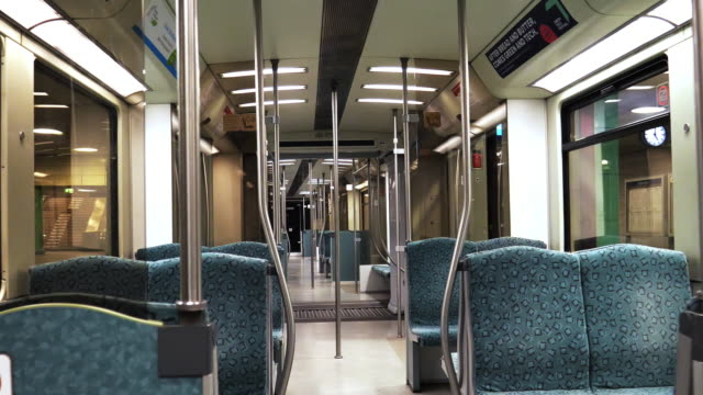 empty interior of subway cabin - vanishing point stock videos & royalty-free footage