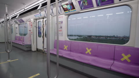 empty interior of subway cabin - subway train stock videos & royalty-free footage