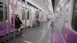 Empty interior of subway cabin