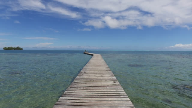 empty jetty leading to sea against sky - フランス海外領点の映像素材/bロール