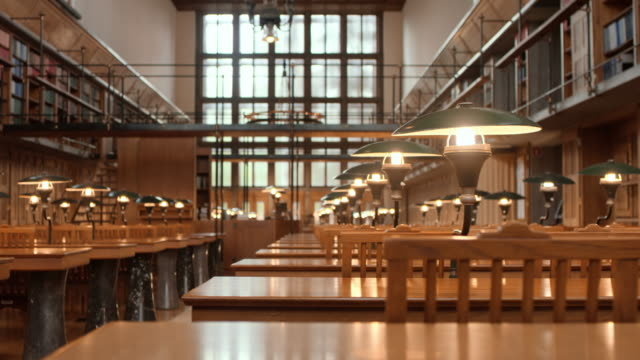 ds empty library's reading room - panning stock videos & royalty-free footage