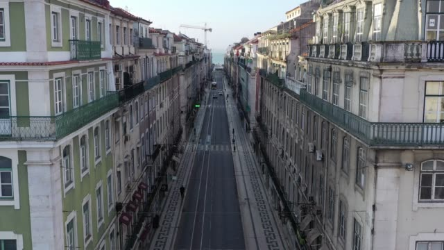 empty lisbon from above during the quarantine, downtown center, empty streets - dramatic landscape stock videos & royalty-free footage