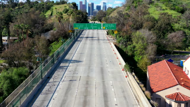 empty los angeles freeways during coronavirus pandemic - major road stock videos & royalty-free footage