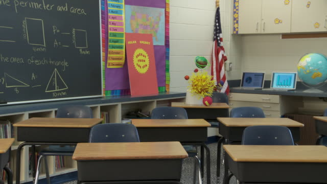 ms, pan, empty math classroom, richmond, virginia, usa - schreibtafel stock-videos und b-roll-filmmaterial