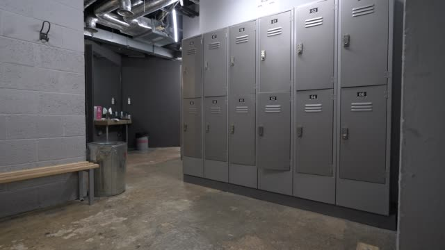 empty men's locker room at kobox, london wall as the government has yet to announce the easing of restrictions for gyms on june 24, 2020 in london,... - locker stock videos & royalty-free footage